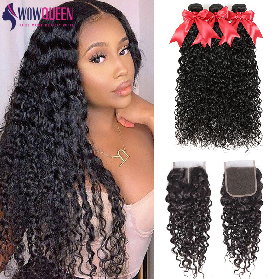 Wowqueen Water-Wave-Bundles Closure Brazilian Hair with 6x6 And Remy