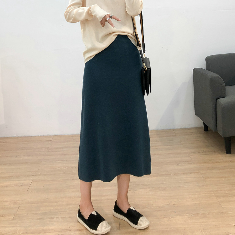 High-waisted Knitted A- Line Skirt Women's 2019 Autumn And Winter New Style Korean-style Versatile Slimming Black And White With