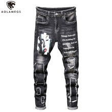 Aolamegs Jeans Men Hip Hop Patch Embroidery Denim Pants Harajuku Hole Slim Fit Retro Hipster Print Spring Streetwear