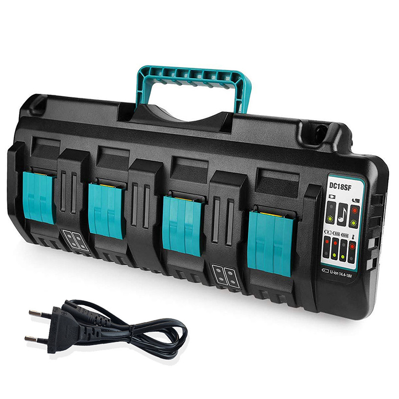 NEW DC18RCT Liion Battery Charger 3A Charging Current for Makita 4Port 14.4V 18V BL1830 Bl1430 DC18RC DC18RA Power tool+USB port