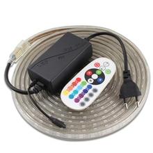 220V RGB LED Strip 5050 60led/m SMD Waterproof Remote Control 220 V LED Light Strip RGB Tape Flexible Ribbon ledstrip DecoraTion