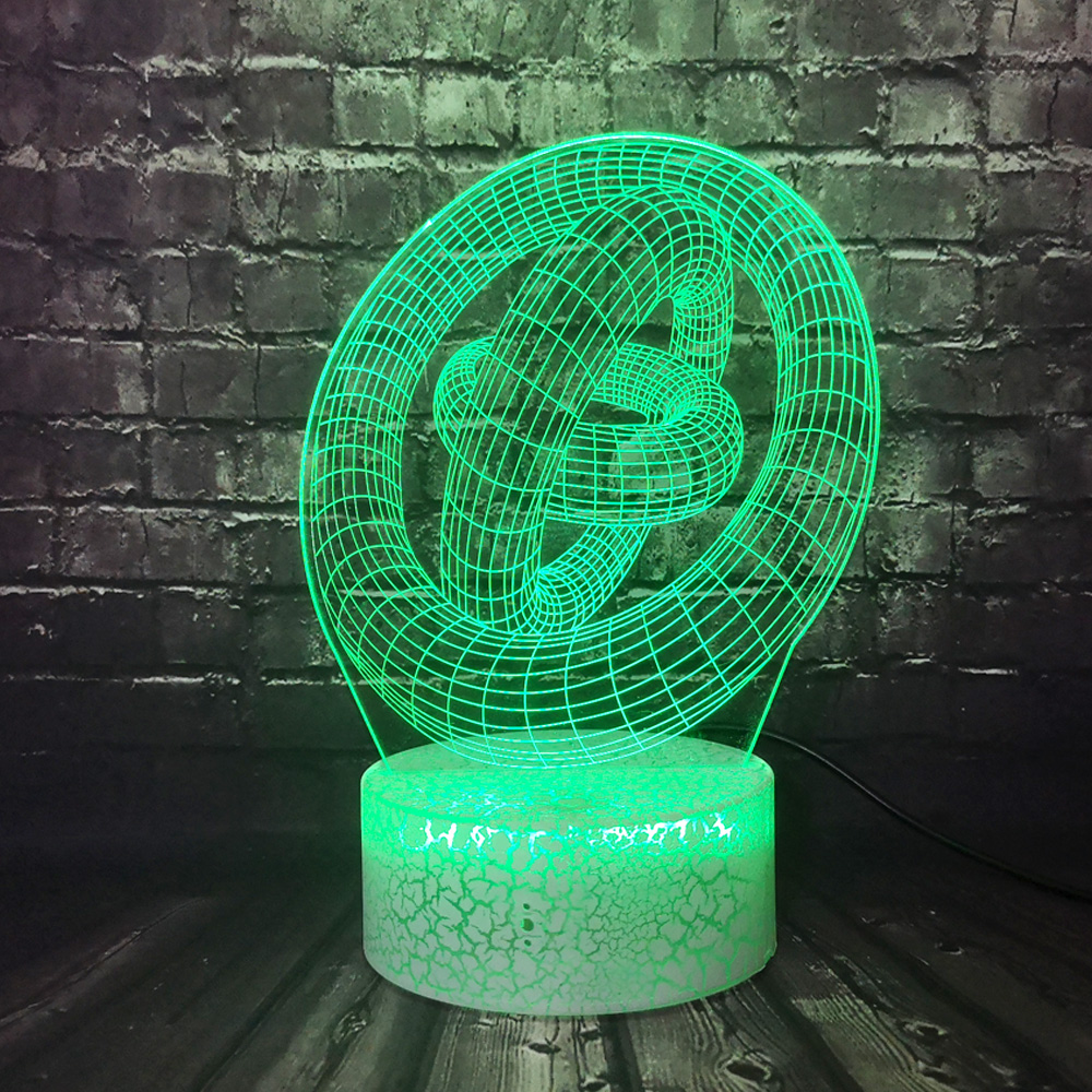 Night Light Double Annular Hollow Abstract 3D Optical LED Lamp Modern Art Home Decor Acrylic Lighting Desk Lampe Lava Gift RGB