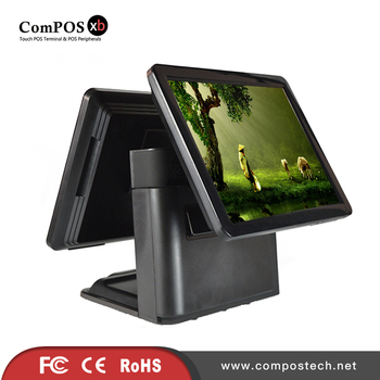 China factory price pos terminal 15 inch dual touch screen pos system for coffee shop