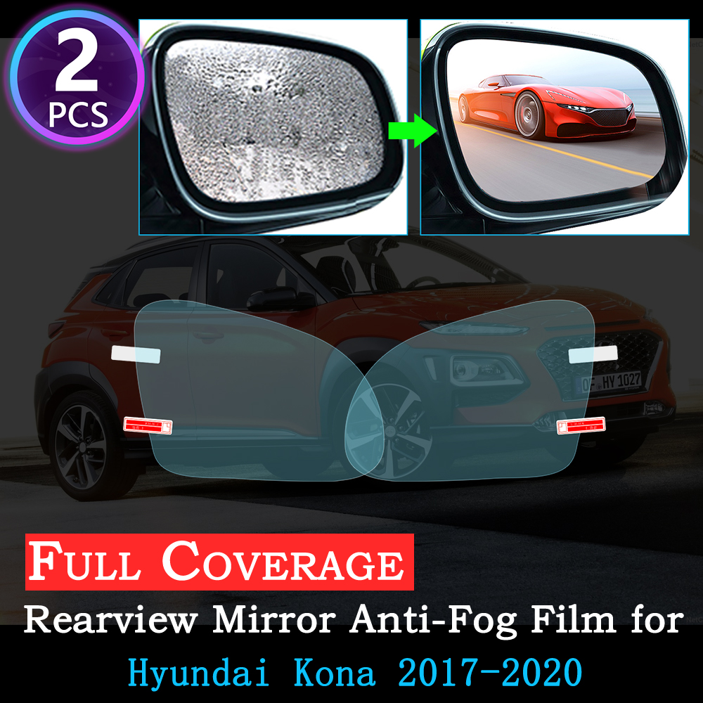 Full Cover Anti Fog Film For Hyundai Kona 2017 2018 2019 2020 Special Rearview Mirror Rainproof Anti-Fog Accessories Car Sticker