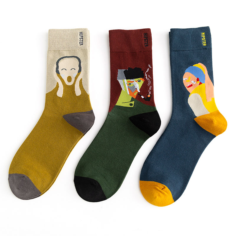 Unisex Oil Painting Style Men Socks 100 Cotton Harajuku Colorful Full Socks Men Standard 1 Pair Size 35-43