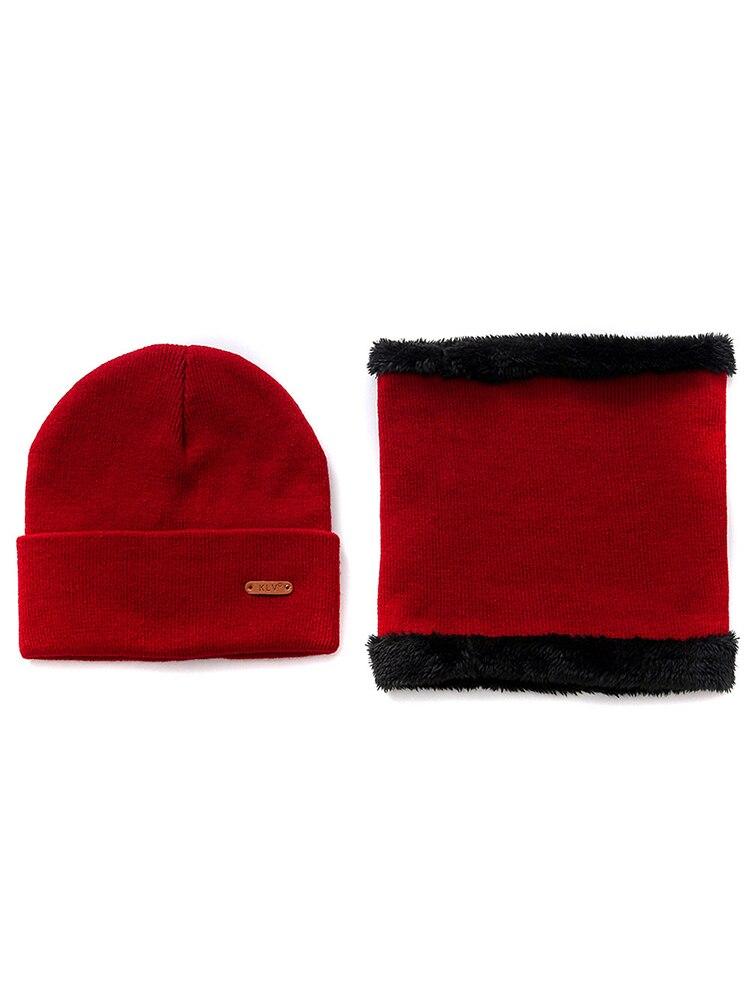 Autumn And Winter Hat Bib Two-piece Solid Color Wild Wool Hat Bib Unisex Warm Suit Plus Velvet Bib Cotton Hat Fashion Warm