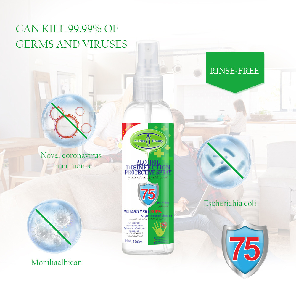 192PCS DHL 100ml Disinfection Rine-free Hand Sanitizer 75% Alcohol Spray Portable Disposable Prevention Hand Sanitizer 4
