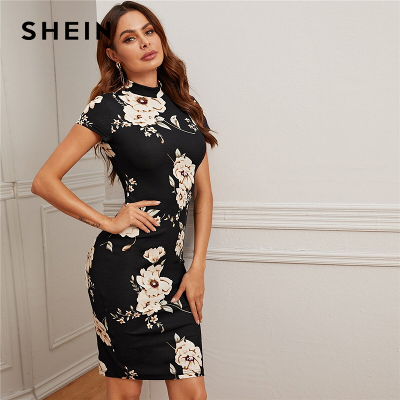 SHEIN Black Mock-Neck Floral Print Bodycon Dress Women 2020 Spring Stand Collar Short Sleeve Elegant Fitted Midi Dresses 1