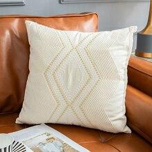 Funda de cojín marfil Vintage gemométrica funda de almohada bordada 45x45cm 30x50cm decoración del hogar para el sofá de la Sala