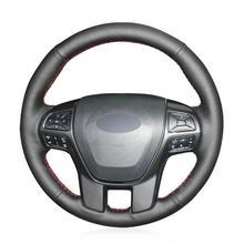 цена на For Ford Ranger Everest  hand-sewn steering wheel cover black artificial leather