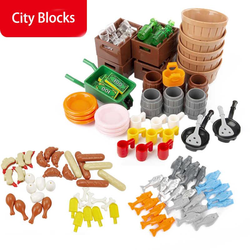 Klocki budowlane miasto akcesoria Banana Pan skarb gofry książki kubki ryby jedzenie zabawki modele dla dzieci przyjaciele MOC City Toy
