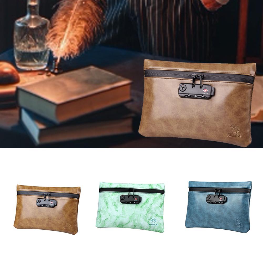 Cheiro à prova de saco de couro do plutônio saco de armazenamento à prova dwaterproof água inodoro bolsa caso com bloqueio combinação 100% carvão ativado