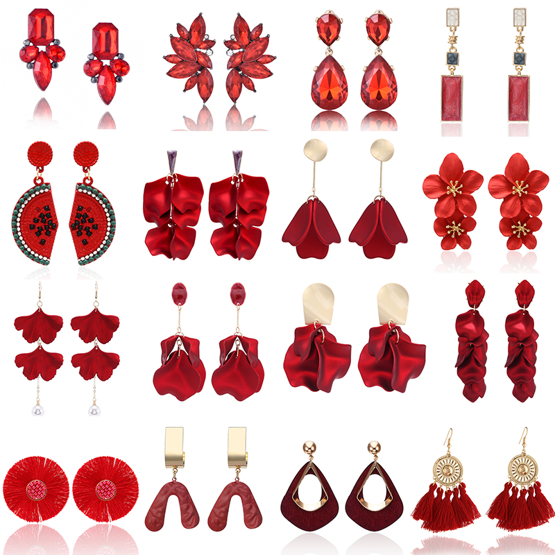 2020 New Fashion Red Pendant Earrings Handmade Flower Crystal  Statement Earrings Party Dangling Earrings For Women Gift