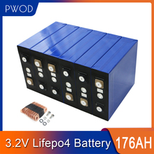 PWOD 3.2V 16pcs lifepo4 battery 176AH for ithium iron phosphate solar cell  24V 48 battery pack not 200AH 280ah EU US tax free