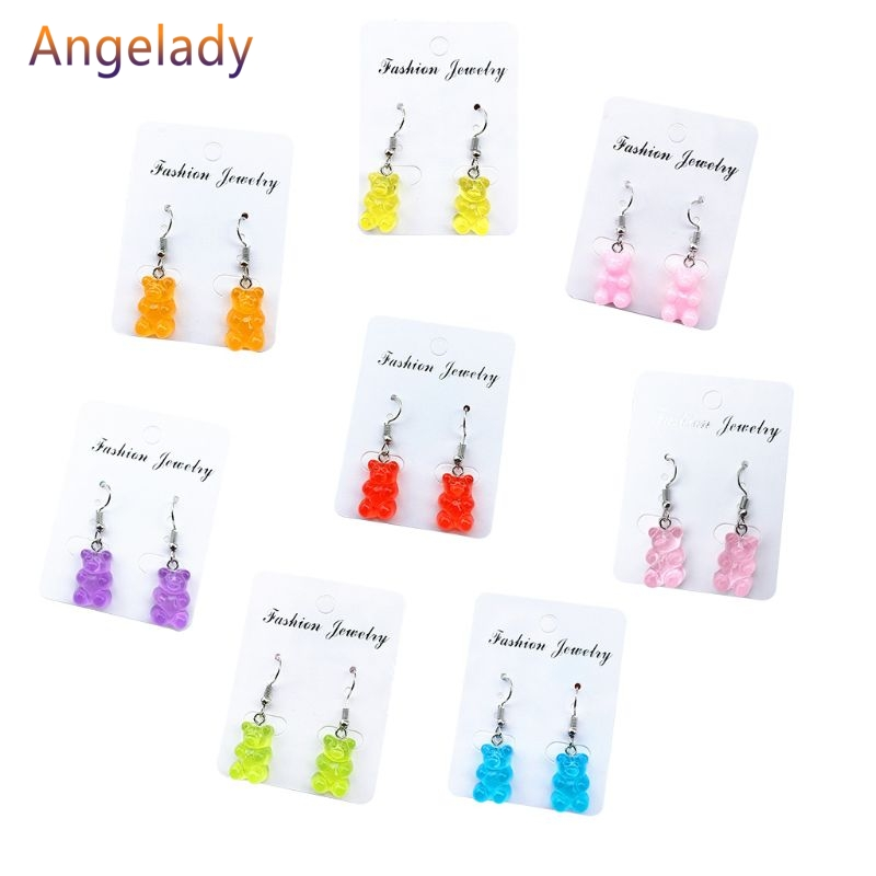 1 Pair Creative Cute Mini Gummy Bear Earrings  Cartoon Design Female Ear Hooks