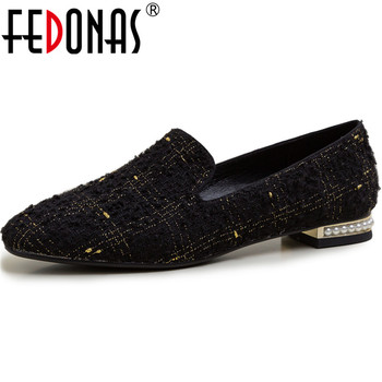 FEDONAS Metal Decoration 2020 Women Shoes Fashion Thick Heels Pumps Cow Genuine Leather Concise Loafers Retro Newest Shoes Woman
