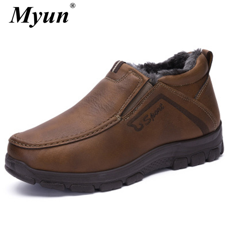 Newest Man Winter Boots High-quality Soft Comfortable Father Shoes Ankle Snow Boots For Men Sneakers Waterproof Boot Size 38-48 image