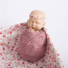 2 Pz/set Bambino Photography Puntelli Coperta Avvolge Stretch Knit Wrap Foto di Stoffa Neonato Accessori Copricapo(China)