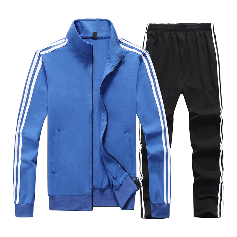 Sport Clothes Men Striped Stand Collar Mens Sweater Suit Solid Underwear Set Long Sleeve Pants Large Size 9XL Tracksuit Man