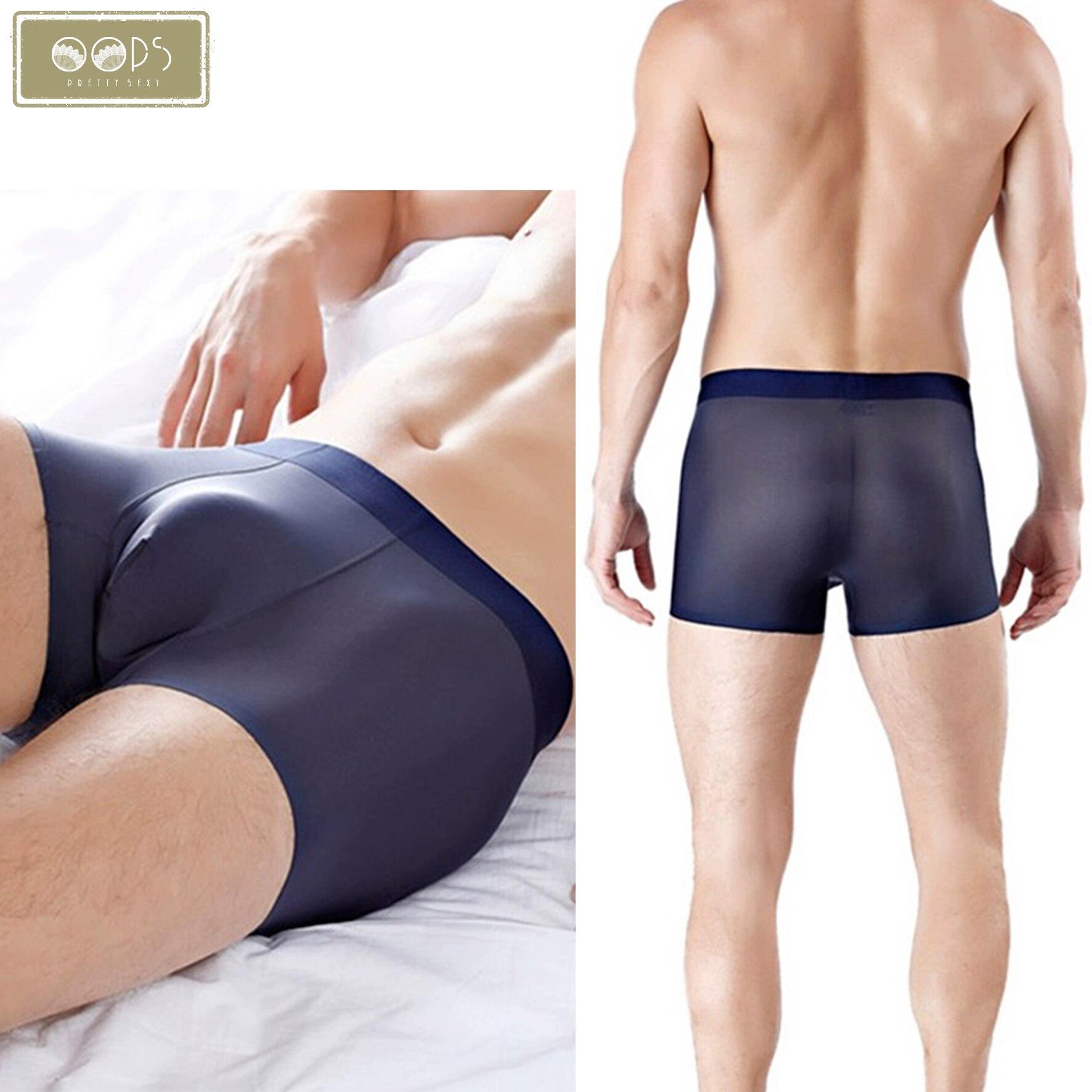 Calzoncillos de seda para hombre ultra finos gris calzoncillos de boxer para hombre SFeng calzoncillos de malla 2XL de fibra de hielo transpirable