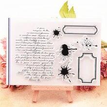 Venda quente de tinta texto transparente selo transparente/selo do rolo do selo do silicone álbum de scrapbook diy/produção do cartão