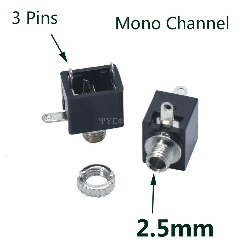10Pcs PJ201M <font><b>2.5mm</b></font> <font><b>Mono</b></font> Channel Audio Connector 3 Pin DIP Headphone <font><b>Jack</b></font> Socket PJ-201M image