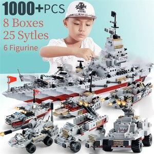 Image 2 - 1000 + pçs militar navio de guerra da marinha aeronaves figuras do exército blocos de construção legoinglys army warship construção tijolos crianças brinquedos