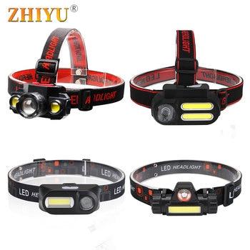 Mini Portable LED Headlamp T6 COB Headband Light USB Rechargeable Head Flashlight Camping Fishing Lamps Lantern Waterproof Torch