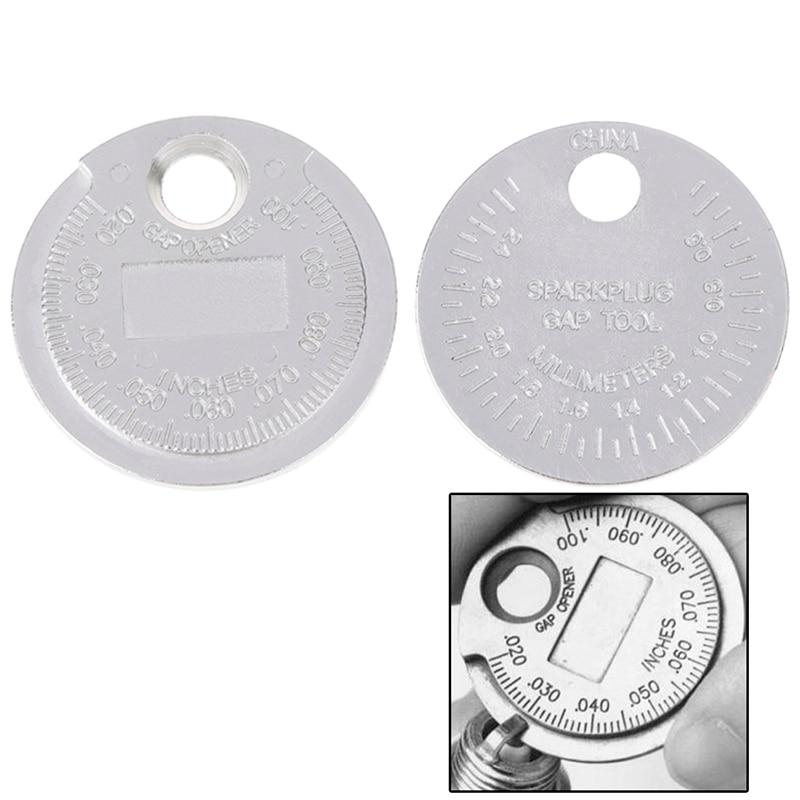 Hot Sale 1pc Spark Plug Gap Gauge Measurement Tool Coin- Type 0.6-2.4mm Range Spark Plug Gage Caliber Measuring Tool