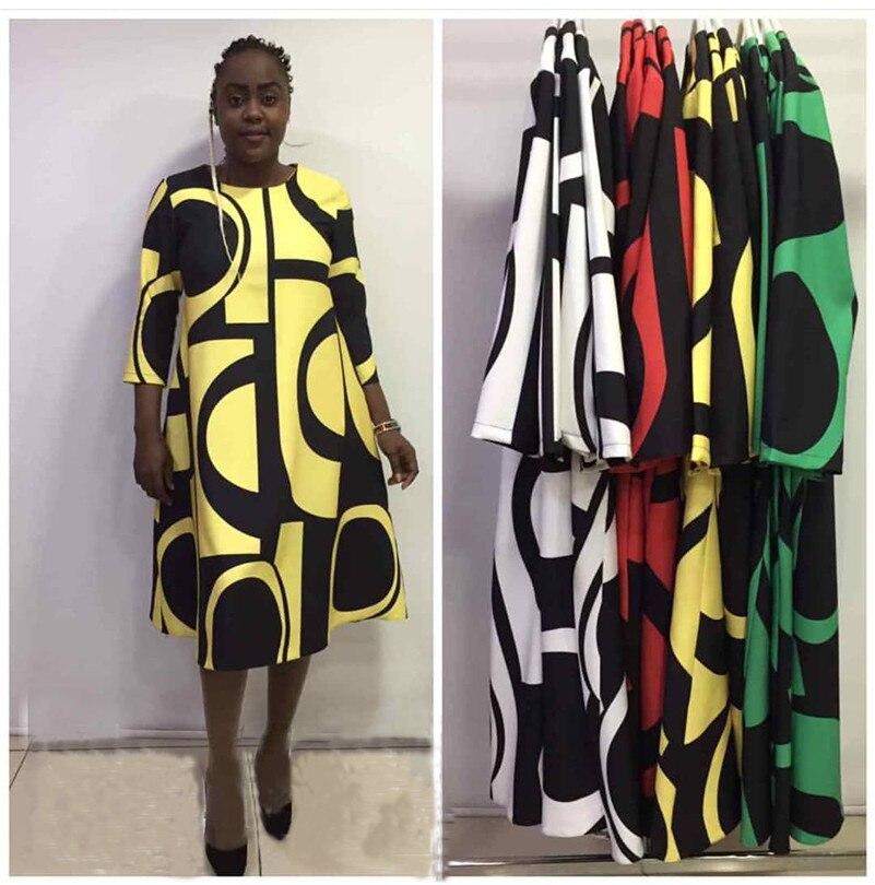 2019 New African Women's Dress Digital Print Round Collar Basic A-line Sleeve Dress