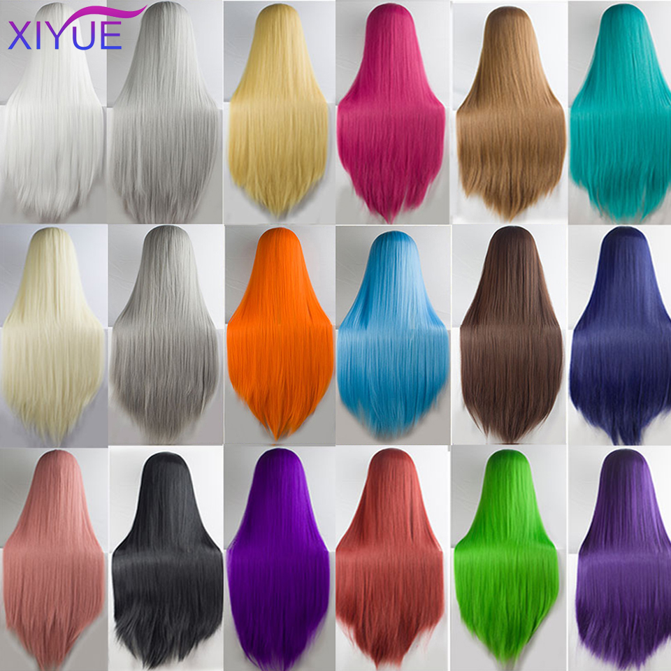 100cm Long Straight Black White Yellow Purple Long Straight Middle Part Synthetic Hairstyles Heat Resistance Cosplay Wigs For Wo