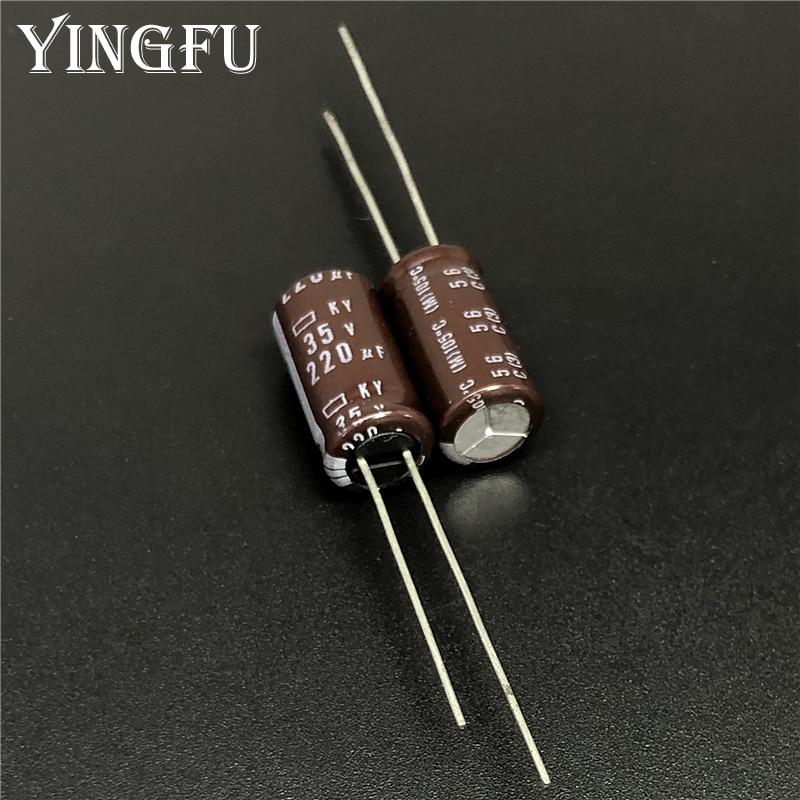 10pcs Nichicon PJ 220uF 35v 105C Radial Electrolytic Capacitor 8X20mm