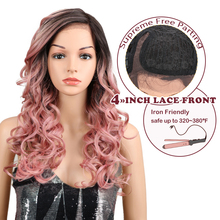 Magic Hair Synthetic L Lace Front Wigs 22Inch Pink Red Color Glueless Heat Resis