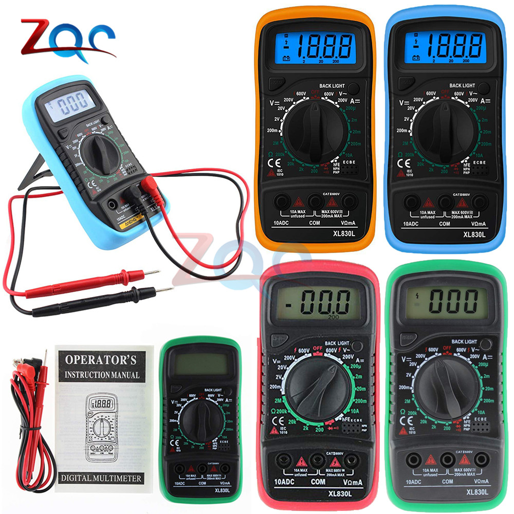 XL830L Handheld Digital Multimeter Backlight Portable AC/DC Ammeter Voltmeter Ohm Voltage Tester Capacitance Meter Multimetro
