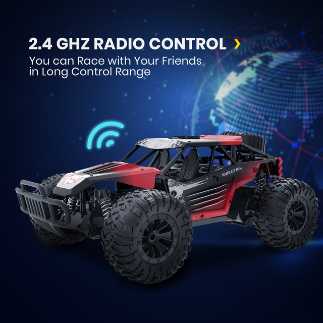 DEERC DE37 1:16 RC Car All Terrains Off Road Buggy Truck 30 Mins Play Time 20 KM/H High Speed RC Dift Car Toys For Children 4