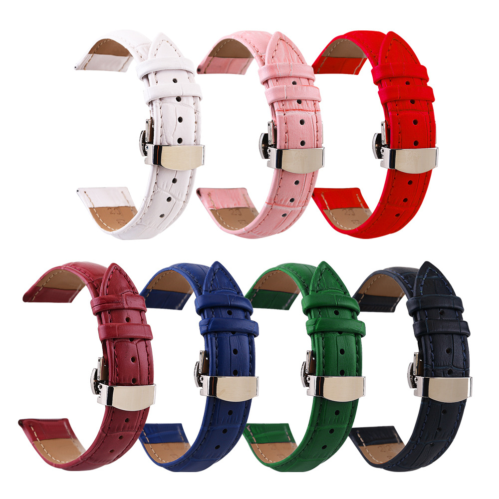 Genuine Leather Watch Strap Green Red Pink White Watch Bands 10mm 12mm 18mm 20mm 14mm 16mm 19mm 22mm Watch Accessories Female