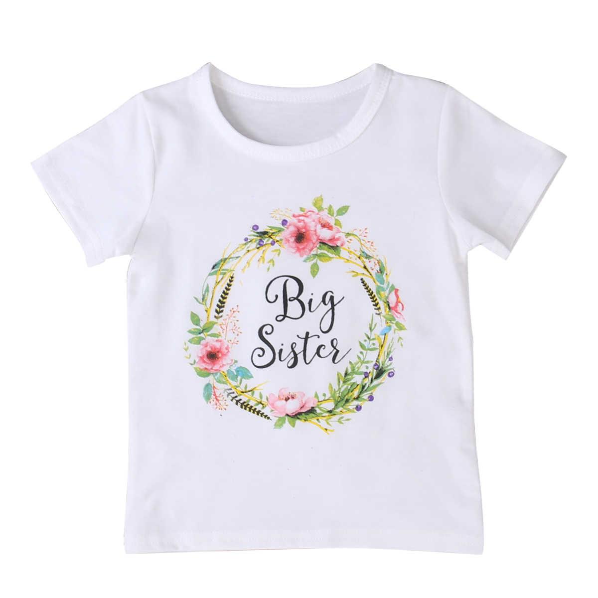 Ropa a juego de la familia del verano bebé niños niña pequeña hermana mayor partido mono mameluco y camiseta trajes de la familia