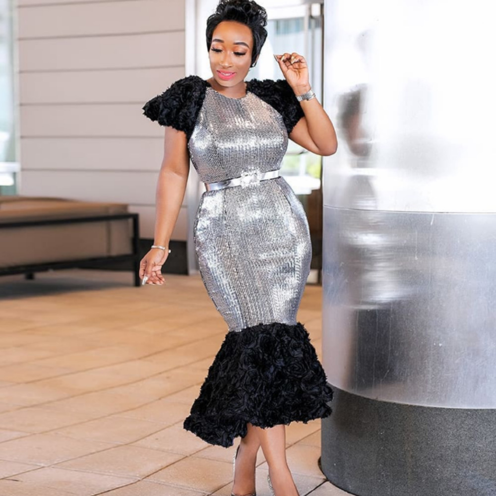 Women Sequnied Dashiki African Dresses 2019 Bodycon Bandage Party Dress Sequins Ladies Traditional Africa Clothing Mermaid Robes