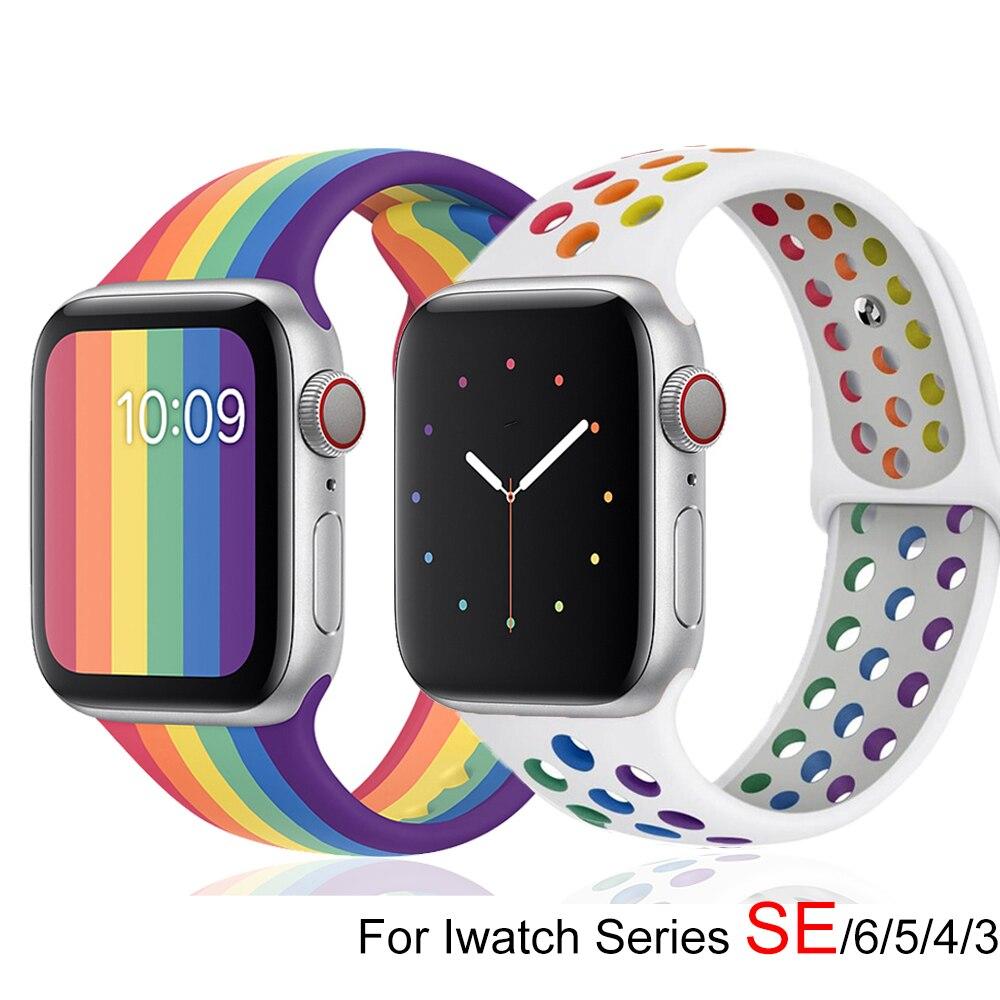 Ремешок Pride Edition для Apple watch band 44 мм 40 мм 42 мм 38 мм, спортивный силиконовый Воздухопроницаемый браслет для iwatch series 6 5 4 3 SE