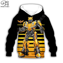 Crianças do miúdo dos desenhos animados bumblebee impressão transformação 3d hoodies jaqueta bebê menino menina pulôver manga longa moletom agasalho 04