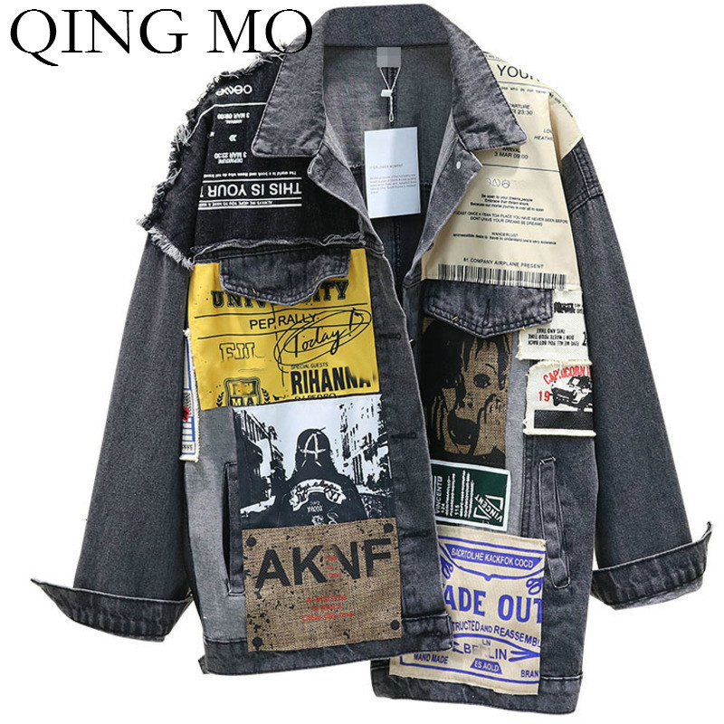 QING MO Blue Women Denim Coat 2019 Women Winter Irregular Coat With Patch Female Vintage Loose Outwear ZQY2003