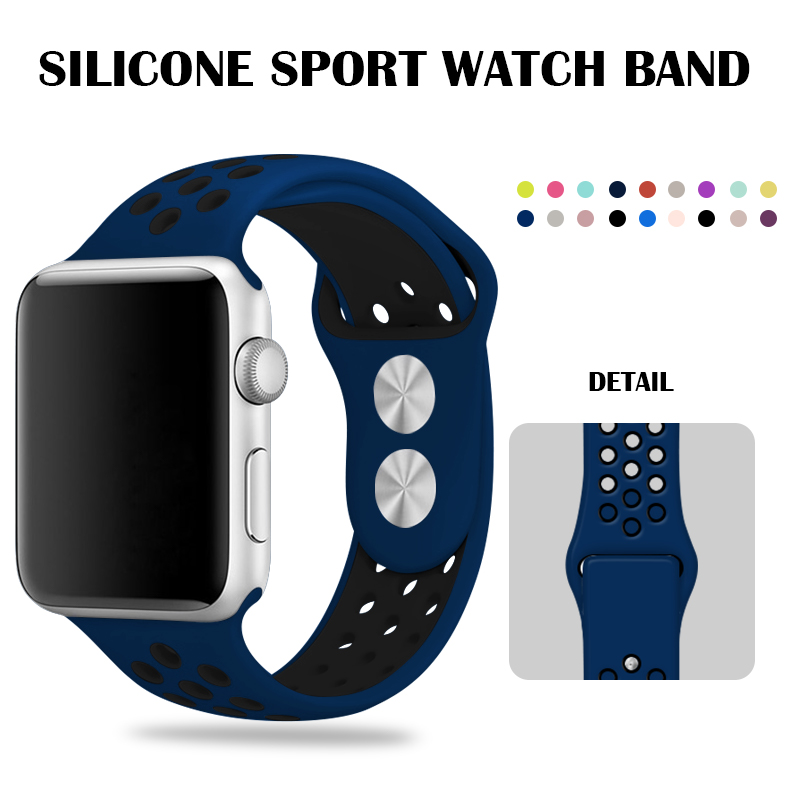Sport Band 44mm For Apple Watch Nike Silicone Strap Blue Black Wrist Bands 40mm Bracelet 38mm 42mm Iwatch Series 2 Accessories