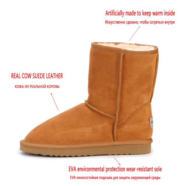 HABUCKN Women Boots Winter Warm Genuine leather suede winter snow boots for women real Mid-Calf Boots winter large size shoes