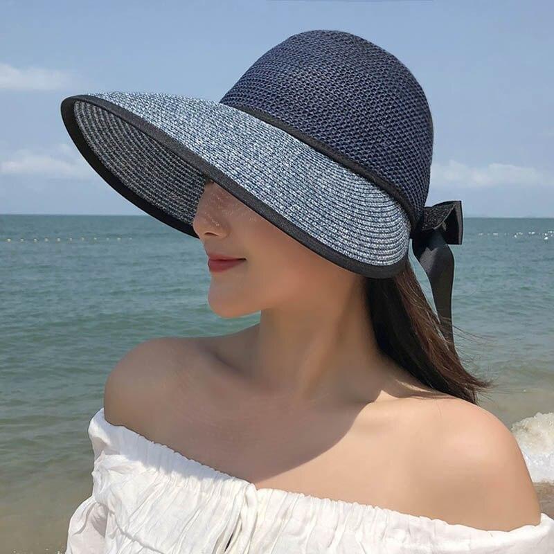 Новая 2021 летняя соломенная шляпа для Для женщин пляжные шляпы с широкими полями Кепки Защита от ультрафиолетовых лучей кепки с козырьком от...