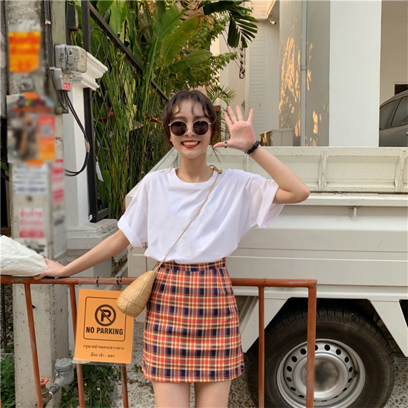 Women High Waist Skirt Stitching Color Lattice Skirt Slim Temperament A Line Skirt Simple Skirt Female