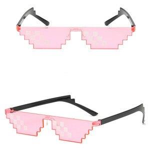 Image 5 - TTLIFE забавные мужские очки Thug Life солнцезащитные очки мозаика мужские 8 бит стиль пиксель смешной аксессуар черный полигональный Óculos