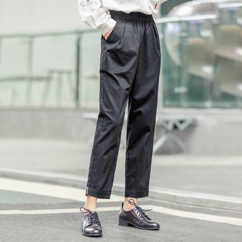 をインマン 2020 春の新到着ミニマリスト緩い綿無地花ハイウエストフィッティングファッション丈因果パンツ