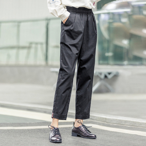 Image 2 - INMAN 2020 Spring New Arrival Minimalist Loose Cotton Solid Color Flower High Waist Fitting Fashion Cropped Causal Pants