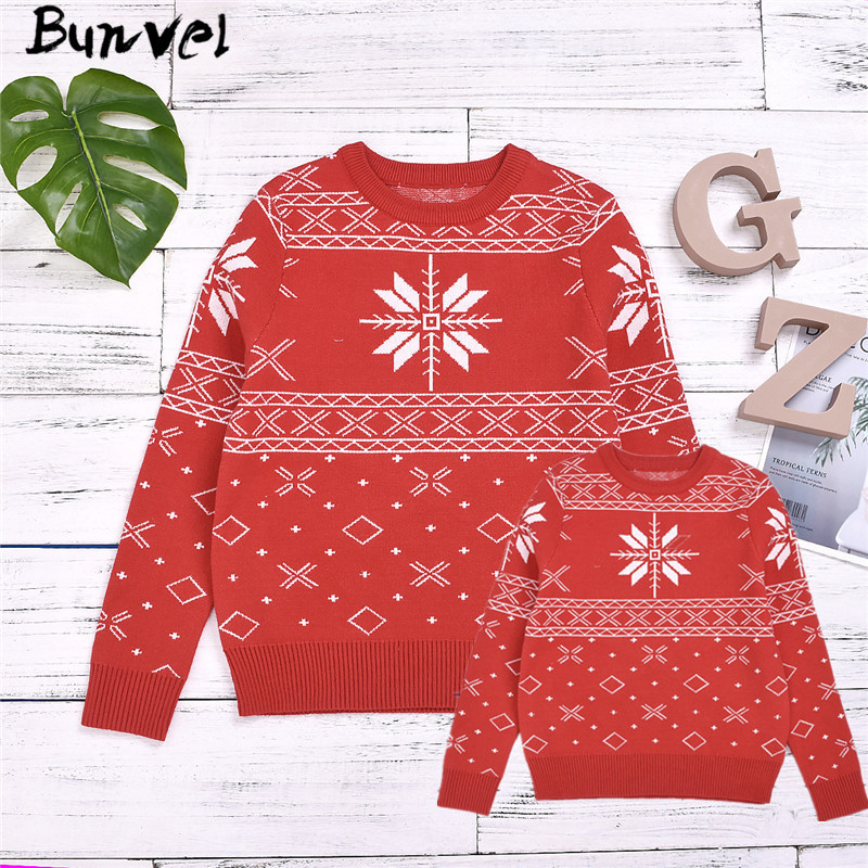 Bunvel Christmas Family Matching Clothes Sweater Daddy Mommy And Me Clothes Argyle Snow Printed Toddler Baby Girls Boys Tops