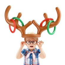 цена на Inflatable Hat Ring Toss PVC Christmas Reindeer Antler Fun Game Favours Christmas Xmas Party Decoration Funny Gifts Kids Adults